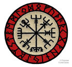 VIKING COMPASS PATCH Vegvisir IRON ON EMBROIDERED ICELANDIC NORSE RUNE FANCY