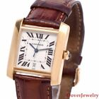 Cartier Tank Francaise 18K Gold Leather Automatic Watch 50.3 Grams NR