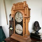 OLD antique clock Double Dial Waterbury 43 Oak