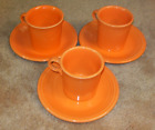 Set of 3 Fiesta Tangerine Cups and Saucers (609)
