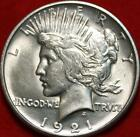 Uncirculated 1921 Philadelphia Mint Silver Peace Dollar Free S H