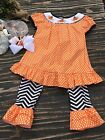 Girls Emily Rose Pumpkin Outfit With Boutique Pumpkin Hair Clip Size 4