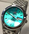 New Orient Green Dial Men's Faceted Automatic  Silver Watch Cut Cristal