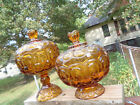 L E Smith Amber Glass Moon and Stars Pedestal Compote Footed Candy Dish w/ Lids