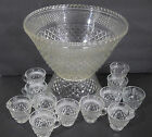 Anchor Hocking Wexford Punch Bowl Set Base, 12 Punch Cups 9 Plastic Hangers VNT