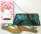 CHINESE LAUNDRY teal GAME SHOW thong SANDALS 65 worn once AND matching HANDBAG