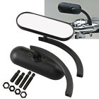 Black Mini Oval Micro Rear View Side Mirrors Pair for Harley Davision