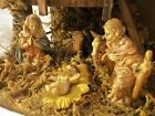 Manger Nativity Creche Moss Bark Covered Stable 8 Figures Italy 9 inTall