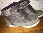 Hanna Andersson Sigrid Glitter SILVER High Top Sneakers SHOES SZ 1 VELCRO SPARKL