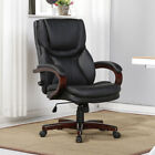Executive Desk Chair Black Leather w Wood Adjustable Back Lumbar Support Office