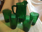 Vintage Anchor Hocking Forest Green Juice Pitcher and 4 Glasses Tumblers