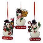 SET 3 4 Retro Snowman Christmas Tree Ornament Frosty Snow Season Vintage Style
