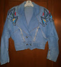 Vintage 1980s Jeans  Extra Denim Crop Jean Jacket with embroidery w Studs L
