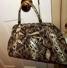 Jessica Simpson snake skin brown cream w bow shoulder satchel hand bag purse