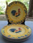 FOUR Fitz and Floyd Coq du Village Rooster Portrait Yellow Salad Plates