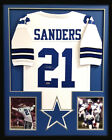 Deion Sanders Autographed Signed Framed Dallas Cowboys White Custom Jersey