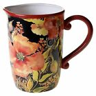 Certified International Watercolor Poppies Red/Black Ceramic 96-ounce Pitcher