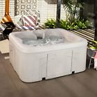 Life Smart 4 Person Plug  Play Square Hot Tub Spa with 13 Jets and Cover Beige