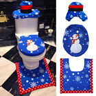 3Pcs/Set Xmas Vivid Blue Snowman Toilet Seat Cover+ Rug Bath Mat Christmas Decor