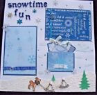 3 D Snowtime Fun Sewn Page Two Photo Mats Paper pieced with Journal Tags
