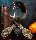 Scrying Witch Crystal Glass Gazing Ball On Broomsticks Potion Cauldron Figurine