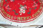 VINTAGE Christmas LINEN PRINT TABLECLOTH TREE SKIRT Round FRINGE Snowman Candy++