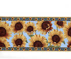 Sunflowers Flower Floral Blue Yellow Country Wall Paper Border