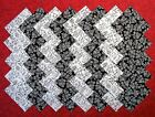 BLACK  WHITE Cats and Flowers 100 cotton 4 Quilt Block Fabric Squares D 81A