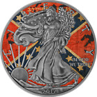 USA 2017 1 American Eagle 1 Oz Liberty Confederate Flag Antique Coin