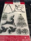 Art c set of 3 dies and 6 stamps Christmas tree Reindeer and Dove