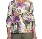 Alfred Dunner shirt size Large L Pink Purple Green Leaves and Ferns