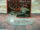 Anchor Hocking Snack Set Grape Pattern 8 Piece Plate Punch Cup 600-76 In Box EUC