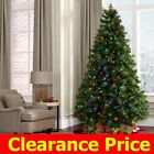 7ft 6ft Artificial Prelit LED Christmas Tree w Stand Green Multi Colored Lights