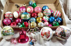35 Lot Antique Glass Christmas Tree Ornaments Ball Bell Glitter MCM Xmas VTG
