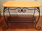 Longaberger Foundry WROUGHT IRON TREASURE BASKET STAND End Table WOOD TOP