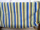 Striped FLEECE FABRIC BLUE YELLOW GREEN BROWN WHITE 20x 60 T94
