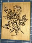 BEAUTIFUL ROMANTIC ROSE LARGE FLOWER Wood Mounted Rubber Stamp STAMPIN UP
