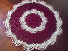 NEW Hand Crochet Doily Table Centerpiece Burgundy  Ecru Large Size 17 Round