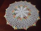 NEW Hand Crochet Doily White Shaded Pink Yellow Blue Size 12 Round