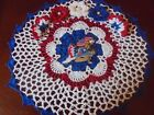 New Hand Crochet Doily PATRIOTIC Flowers Butterflies