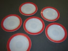 VTG 50s PYREX pink rose coral wide band on milk white Saucers lot -six pink rim