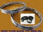 SUZUKI TC100K BLAZER 1973  FRONT & REAR  STEEL WHEEL RIM SET+TAPE RUBBER #BI1090