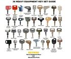 36 Heavy Construction Equipment Ignition Key Set Case Cat John Deere Komatsu JCB