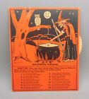 Vtg c 1930 Original Beistle Halloween Fortune Wheel for Parties Game Witch Owl