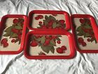 Metal Tv Tray Strawberry Set Of Four Vintage Great Condition Rare