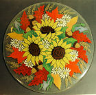 RARE Peggy Karr Signed 20 Round Fused Art Glass TableTop Autumn Sunflower