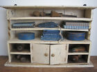 Old Primitive Painted Wood Cabinet with Shelves Two Doors American Country Find