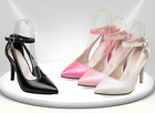 Womens Ankle Strap Pointy Toe High Heel Sweet Party Wedding Pump Shoes Plus