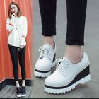 Womens Korean College Sneaker Casual Shoes Wedge Heel Platform Oxfords Pumps