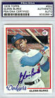 Glenn Burke Autographed Signed 1978 Topps Rookie Card Dodgers PSA DNA